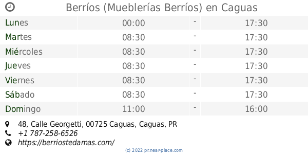🕗 Berríos (Mueblerías Berríos) Caguas horarios, 48, Calle